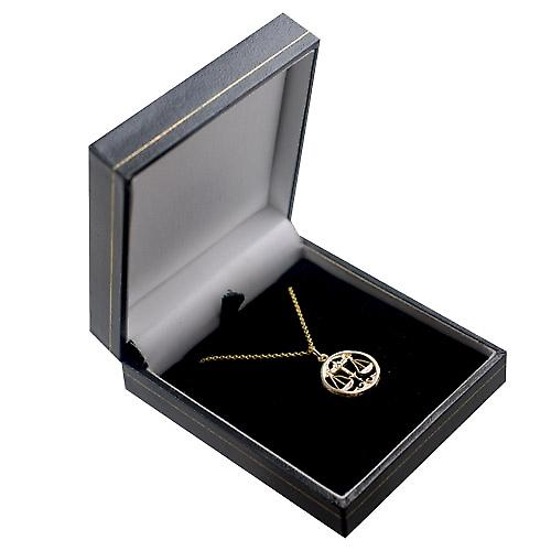 9ct Gold 11mm pierced Libra Zodiac Pendant with a cable Chain 16 inches Only Suitable for Children