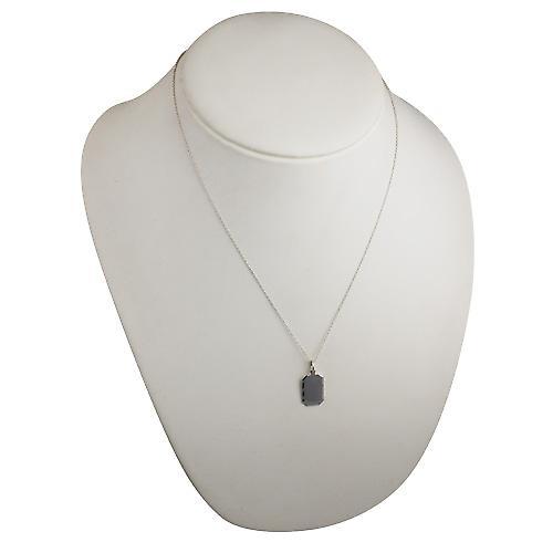 Silver 18x12mm diamond cut edge cut corner rectangular Disc with a rolo Chain 20 inches