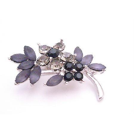 Bridesmaid Jet Black Diamond Crystals Flower Silver Tone Dress Brooch