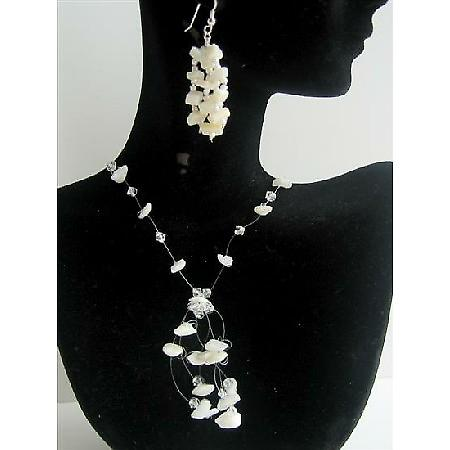 Opal Stone Chip & Clear crystal Necklace Set w/ Tassel Drop Handmade w/ Sterling Earrings