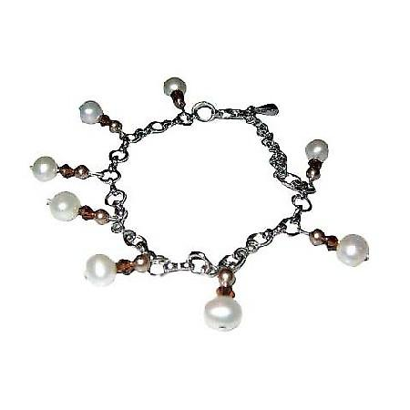 Exquisite & Elegant Bracelet in Pearls & Swarovski Crystals