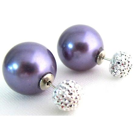 Classic Elegant Double Sided Purple Pearl Pave Ball Stud Earrings