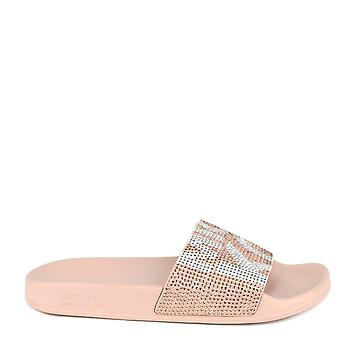 MICHAEL by Michael Kors Gilmore Soft Pink Embellished Graphic Logo Slide