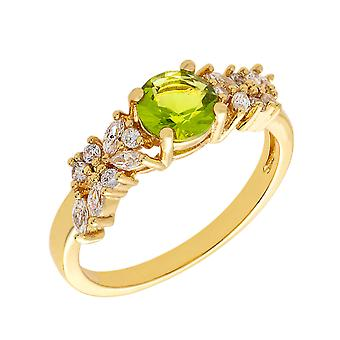 Bertha Juliet Collection Women's 18k YG Plated Light Green Cluster Fashion Ring Size 9