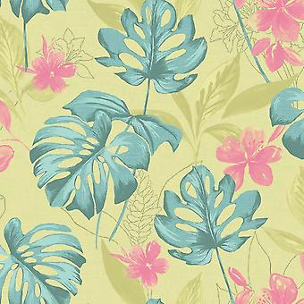 Panama Wallpaper Flowers Floral Motif Luxury Paste The Wall Pink Sage Holden