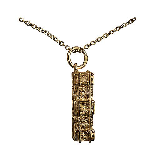 9ct Gold 6x19mm hollow Buckingham Palace Pendant with a cable Chain 16 inches Only Suitable for Children