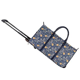 Jane austen blue travel pull holdall by signare tapestry / pull-aust