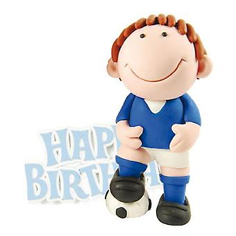 Blue Footballer Cake Decoration with Happy Birthday Motto