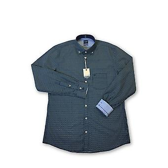 Olyp Casual odern fit shirt in navy geoetric pattern