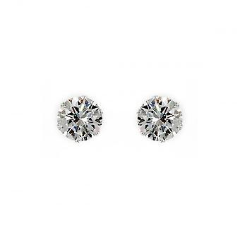 Eternity Sterling Silver 7mm Cubic Zirconia Stud Earrings