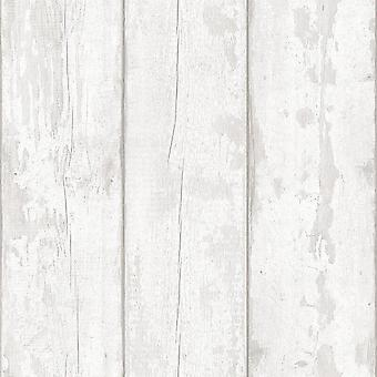 Washed Wood Effect Wallpaper Wooden Boards Planks Faux Grain Distressed Arthouse Grey/White