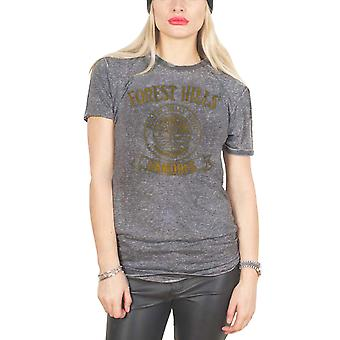 Ramones T Shirt Forest Hills High Official Womens New Grey Skinny Fit Burnout
