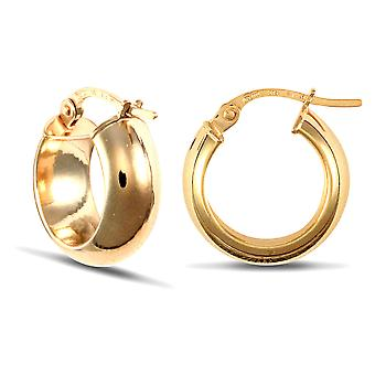 Jewelco London Ladies 9ct Yellow Gold D-Shape Wedding Band Style 6mm Hoop Earrings 14mm