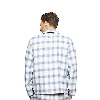 Cyberjammies 6423 mænd ' s Harper Blue mix tjek bomuld langærmet pyjamas top