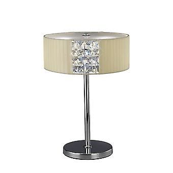Diyas Evelyn Table Lamp Round With Cream Shade 2 Light Polished Chrome/Crystal