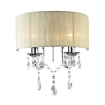 Diyas IL30061 Olivia Wall Lamp Switched With Ivory Cream Shade 2 Light Polished Chrome/Crystal
