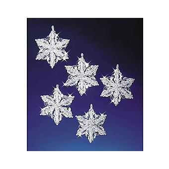 6 Perlen & Pipecleaner Schneeflocken Christmas Ornament Handwerk Kit