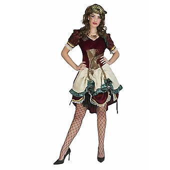 Costume Steampunk Lady Rose Dark Red Beige Gold Green Dress Women's Costume Steampunk Costume Carnival Carnival