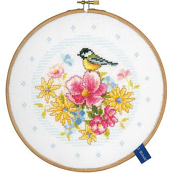 Bird And Flowers On Aida Counted Cross Stitch Kit-8