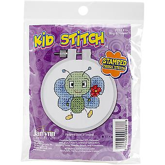 Kid Stitch Bug & fleur estampillé Cross Stitch Kit-3
