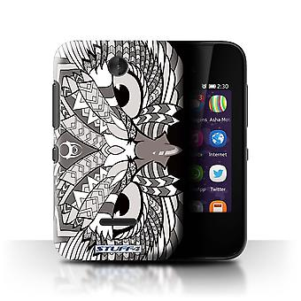 STUFF4 Case/Cover for Nokia Asha 230/Owl-Mono/Aztec Animal