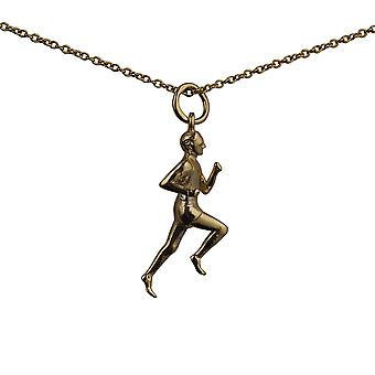 9ct Gold 25x9mm Male Runner Pendant with a cable Chain 16 inches Only Suitable for Children