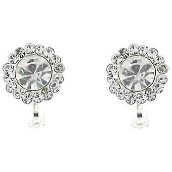 Clip On Earrings Store Classic Clear Crystal Circle Clip On Earrings