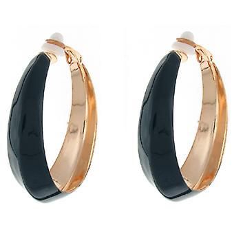 Clip On Earrings Store Navy Blue Enamel Fashion Hoop Clip on Earrings 4 cms