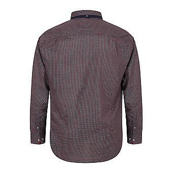 D555 Red & Navy afgedrukt Shirt met lange mouwen
