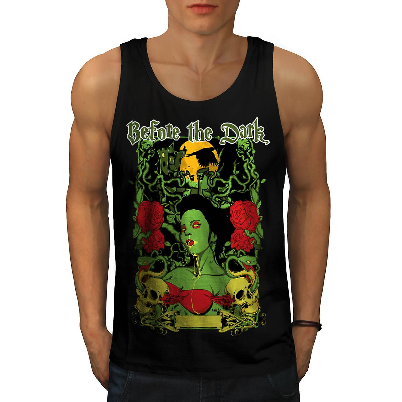 Before Dark Vampire Zombie Girl Men Black Tank Top | Wellcoda