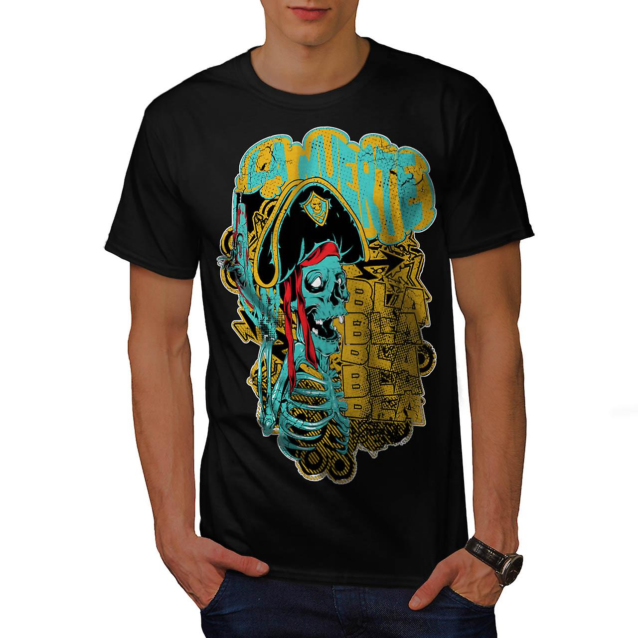 Pirate Skull Ghost Danger Talk Men Black T-shirt | Wellcoda