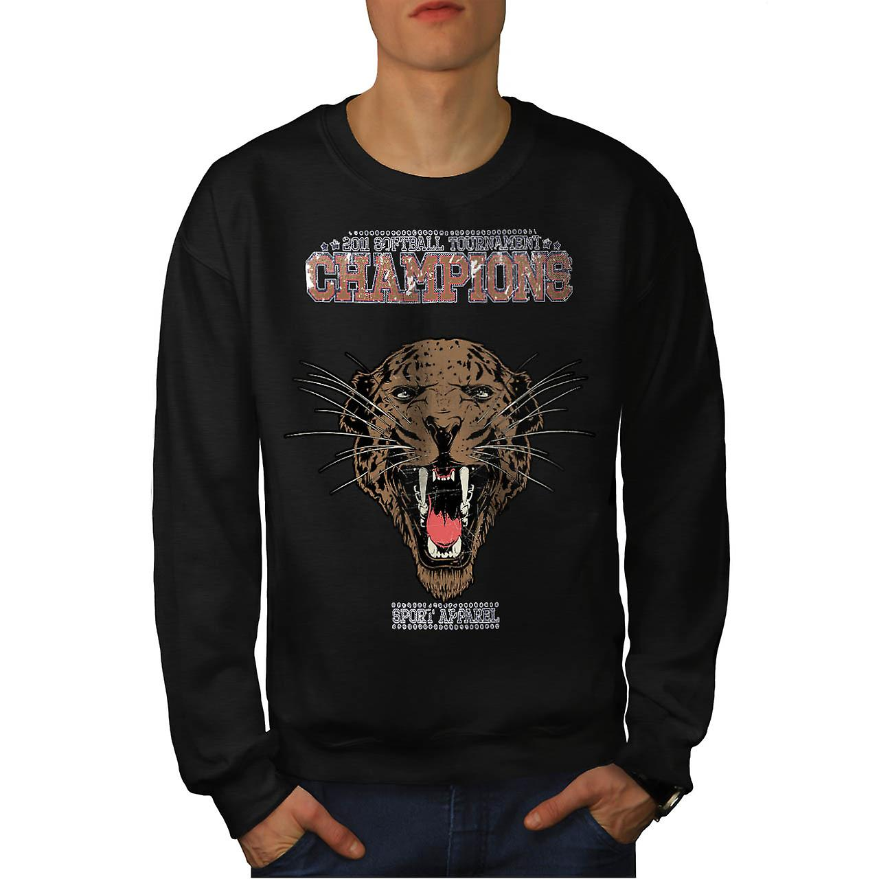 Sports Chapnions Animal Men Black Sweatshirt | Wellcoda