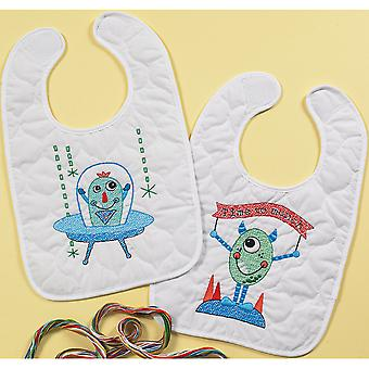 Monster Bib Pair Stamped Cross Stitch Kit-9