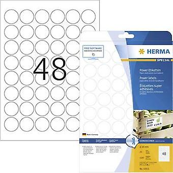 Herma 10915 Labels (A4) Ø 30 mm Paper White 1200 pc(s) Permanent Adhesive labels (extra strong), All-purpose labels Inkj