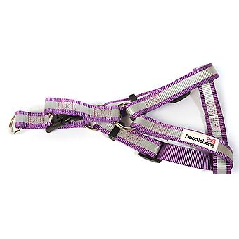 Doodlebone Reflective Bold Tape Harness Purple Extra Small