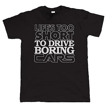 Vectorbomb, Life's Too Short to Drive Boring Cars, Funny Mens Car T Shirt (S to 5XL)