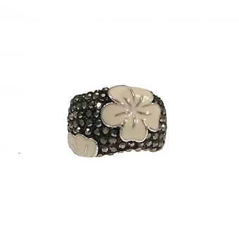 W.A.T Black AB And Hibiscus Flower Ring