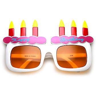 Gafas de sol de celebración fiesta Favor feliz cumpleaños pastel y velas