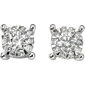 Elements Gold Exquisite 9ct White Gold Diamond Cluster Earrings - Clear/White Gold