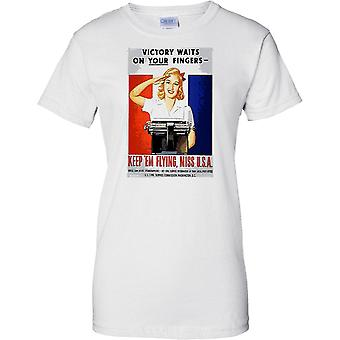 Keep Em Flying - Poster di Propaganda WW2 - alleato guerra mondiale - Ladies T Shirt