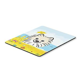 Pomeranian Summer Beach Mouse Pad, Hot Pad or Trivet