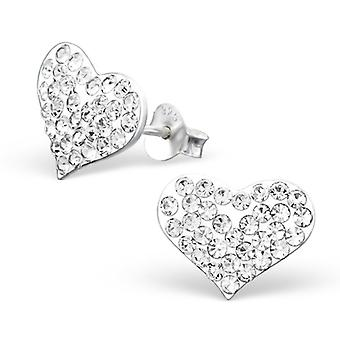 Heart - 925 Sterling Silver Crystal Ear Studs