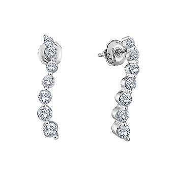 Diamond Journey Earrings 1/4 Carat (ctw) in 10K White Gold