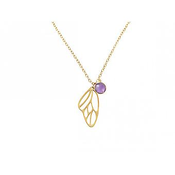 Gemshine - ladies - necklace - pendant - 925 Silver - gold plated - butterfly wings - Amethyst - violet - purple - 45 cm
