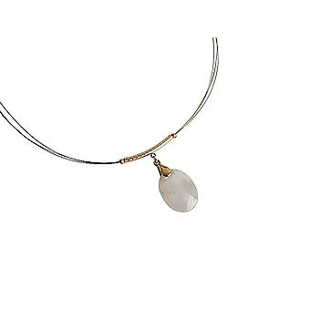 Gemshine - ladies - pendant - necklace - gold plated - Moonstone - faceted 45 cm - white-