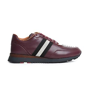 Bally men's 3036209734 Burgundy leather of sneakers