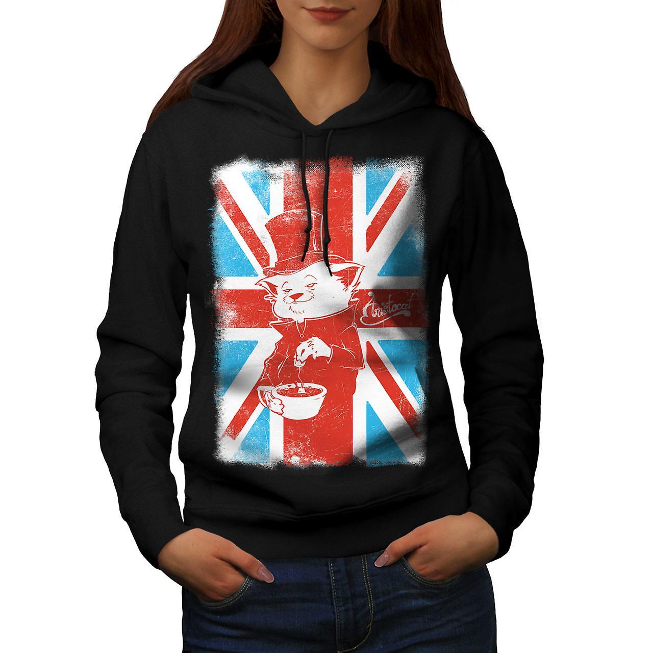 Great Britain Cat Flag UK Women Black Hoodie | Wellcoda