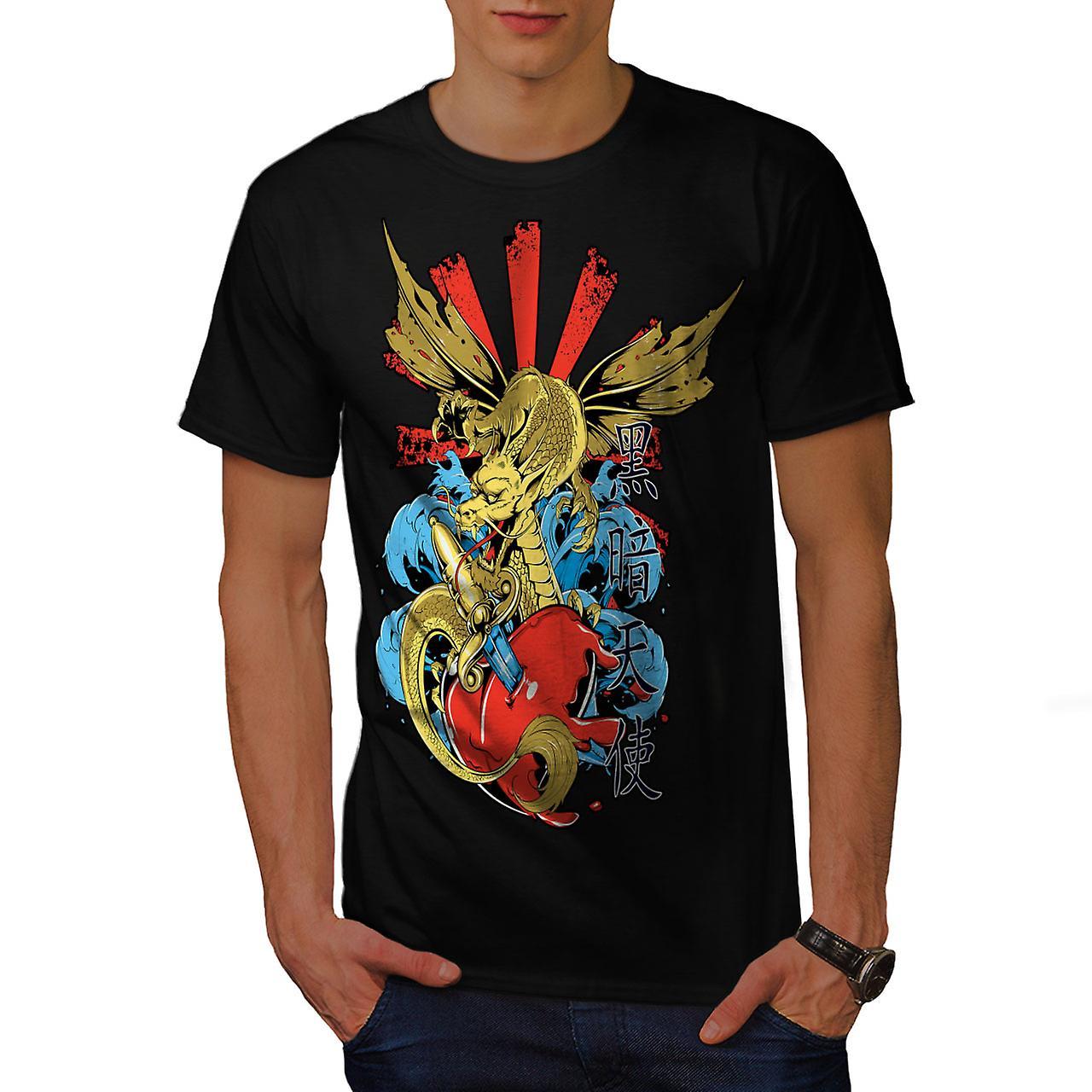 Japanese Skull Fantasy Men Black T-shirt | Wellcoda