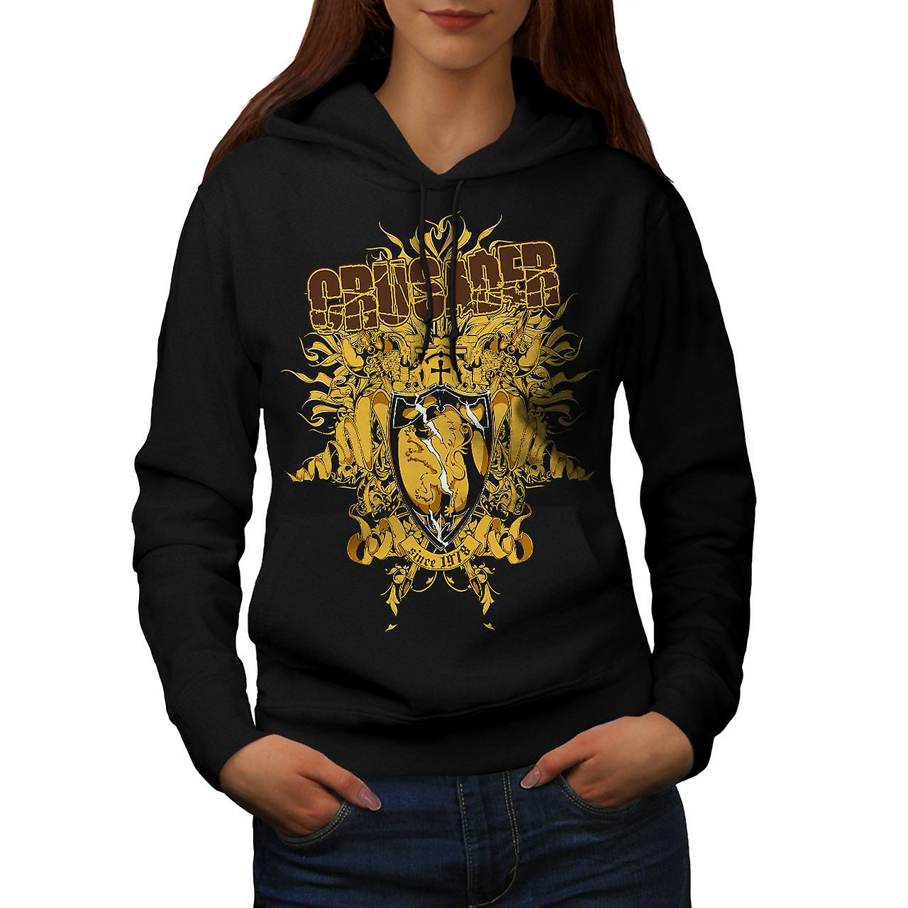 Crusader Shield Fashion Women Black Hoodie | Wellcoda