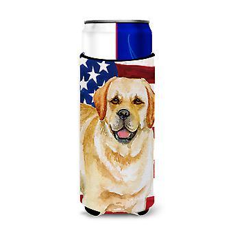 Golden Retriever Patriotic Michelob Ultra Hugger for slim cans